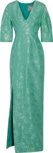 Lela Rose , Metallic Cotton And Silk Blend Gown Jade