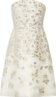 Lela Rose , Metallic Fil Coupe Mini Dress Ivory