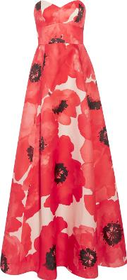 Lela Rose , Strapless Printed Silk Gown Red