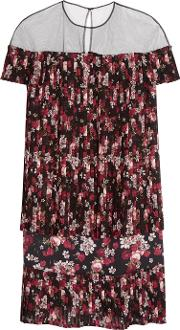 Mother Of Pearl , Sofia Tulle Paneled Floral Print Georgette Dress Red