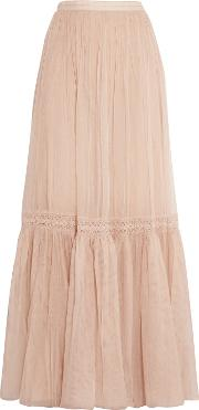 Needle & Thread , Crochet Paneled Tulle Maxi Skirt Beige