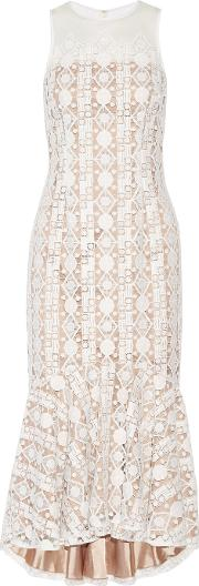 Mikael Aghal , Pleated Embroidered Tulle Midi Dress White