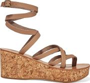 K Jacques St Tropez , Tautavel Leather And Cork Wedge Sandals Beige