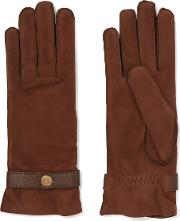 Causse Gantier , Country Leather Trimmed Nubuck Gloves Dark Brown