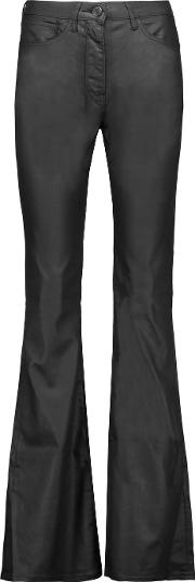 3x1 , Mid Rise Coated Flared Jeans Black