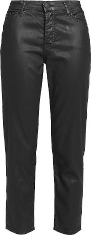 7 For All Mankind , Josie Mid Rise Coated Straight Leg Jeans Black