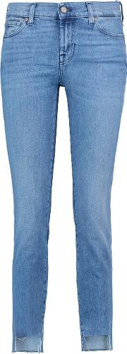 7 For All Mankind , Mid Rise Roxanne Crop Skinny Jeans Mid Denim