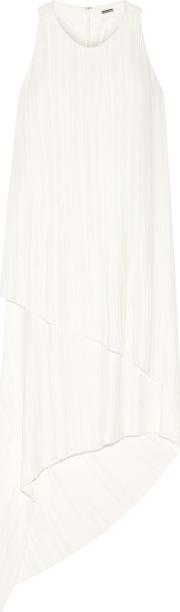 Adam Lippes , Asymmetric Plisse Satin Dress Ivory
