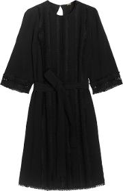 Adam Lippes , Embroidered Crepe Dress Black