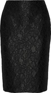 Adam Lippes , Lace Appliqued Satin Pencil Skirt Black