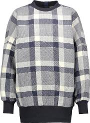 Adam Lippes , Plaid Wool Blend Sweatshirt Storm Blue