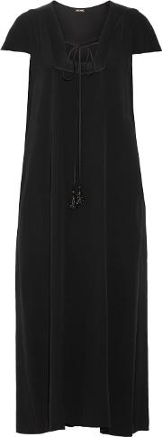 Adam Lippes , Silk Satin Trimmed Crepe Midi Dress Black