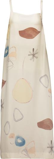 Adam Lippes , Tie Back Printed Silk Midi Dress Ivory
