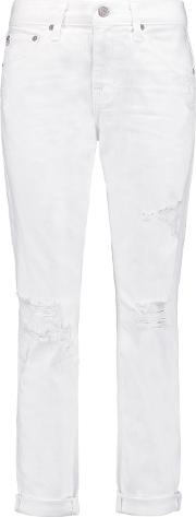 Ag Jeans , Ex Boyfriend Low Rise Distressed Jeans White