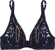 Agent Provocateur , Soiree Terri Zip Detailed Embroidered Tulle Underwired Bra Navy