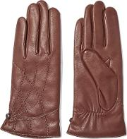 Agnelle , Embroidered Leather Gloves Brown