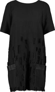 Amanda Wakeley , Fil Coupe Paneled Pique Mini Dress Black