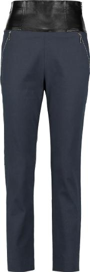 Amanda Wakeley , Leather Trimmed Cotton Blend Twill Tapered Pants Midnight Blue
