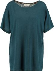 Amanda Wakeley , Pointelle Trimmed Cashmere Top Petrol