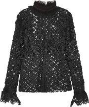 Anna Sui , Magical Mystery Ruffled Crocheted Lace And Mesh Blouse Black