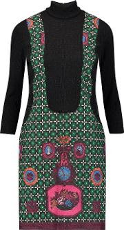 Anna Sui , Printed Jacquard And Ribbed Knit Turtleneck Mini Dress Green