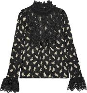 Anna Sui , Shadow Cats Lace Paneled Printed Georgette Blouse Black