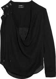 Anthony Vaccarello , Lace Up Wool Blend Blouse Black
