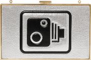 Anya Hindmarch , Imperial Speed Camera Metallic Leather Clutch Silver