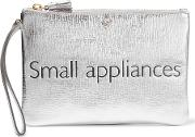 Anya Hindmarch , Small Appliances Metallic Textured Leather Pouch Silver