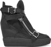 Ash , Aroma Buckled Leather And Suede Wedge Sneakers Black