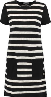 Autumn Cashmere , Suede Paneled Striped Cotton Mini Dress Black