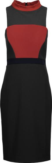 Badgley Mischka , Color Block Stretch Jersey Dress Black