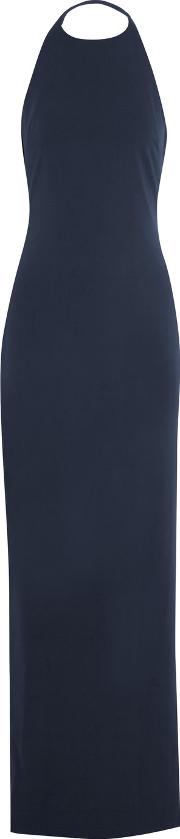 Badgley Mischka , Crepe Halterneck Gown Navy
