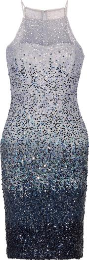 Badgley Mischka , Degrade Sequined Tulle Dress Blue