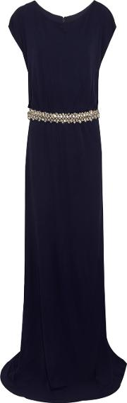 Badgley Mischka , Embellished Jersey Gown Navy