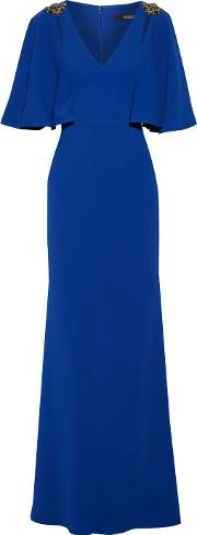 Badgley Mischka , Fluted Embellished Stretch Cady Gown Bright Blue