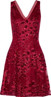 Badgley Mischka , June Sequin Embellished Embroidered Tulle Mini Dress Us6