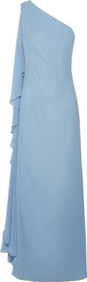 Badgley Mischka , One Shoulder Draped Crepe De Chine Gown Light Blue