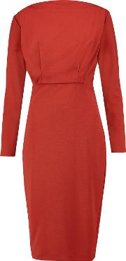 Badgley Mischka , Ponte Dress Brick