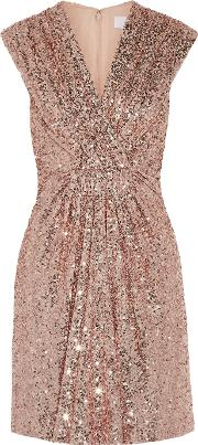 Badgley Mischka , Robin Gathered Sequined Tulle Mini Dress Blush