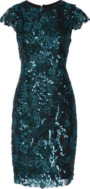 Badgley Mischka , Sequined Corded Lace Dress Petrol