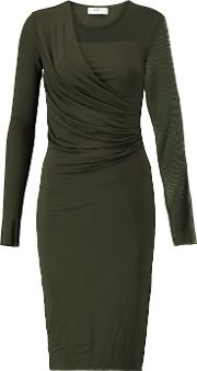 Bailey 44 , Draped Stretch Jersey And Mesh Mini Dress Army Green