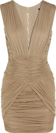 Balmain , Ruched Stretch Jersey Mini Dress Taupe