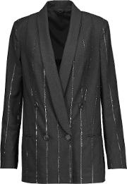 Brunello Cucinelli , Double Breasted Sequined Wool Blend Jacket Anthracite