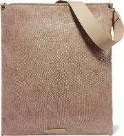 Brunello Cucinelli , Leather Trimmed Coated Canvas Clutch Taupe