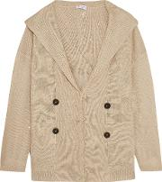 Brunello Cucinelli , Sequin Embellished Linen And Silk Blend Hooded Cardigan Taupe