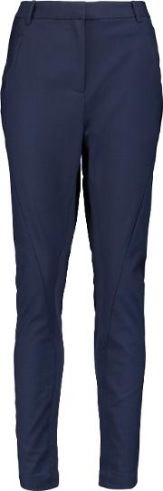 By Malene Birger , Teodosio Ribbed Knit Paneled Twill Tapered Pants Midnight Blue