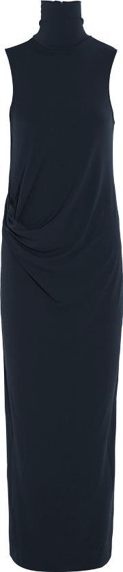 By Malene Birger , Turtleneck Textured Stretch Crepe Maxi Dress Midnight Blue