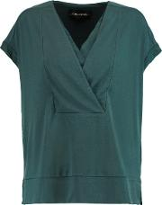 By Malene Birger , Washed Silk Trimmed Stretch Crepe Top Petrol
