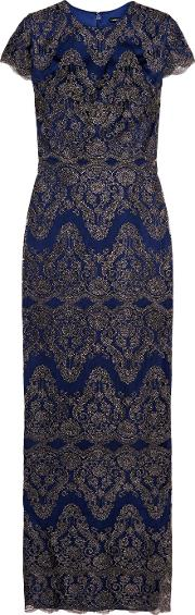 Catherine Deane , Godiva Embroidered Tulle Gown Cobalt Blue